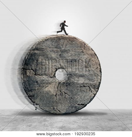 Managing obsolete technology and working on an outdated antiquated business model as a businessman running on a stone wheel as a lack of innovation metaphor in a 3D illustration style.