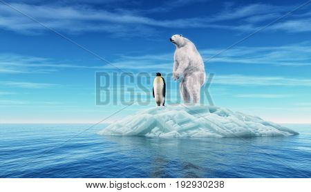 Polar bear and a penguin on a piece of glacier. This is a 3d render illustration