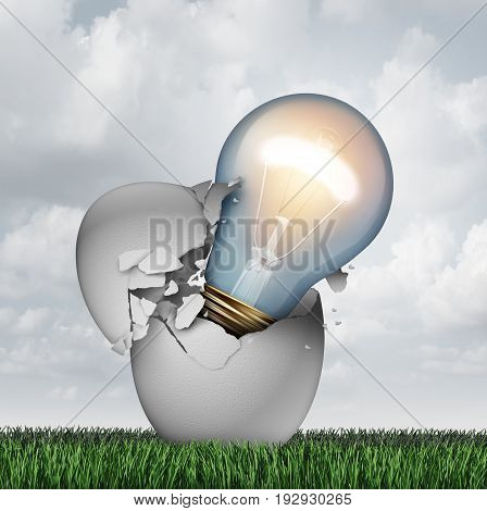 Idea birth concept and out of the box brainstorming symbol as a hatching egg with a lightbulb emerging as an icon for startup and entrepreneur creativity or learning ideas as a 3D illustration.