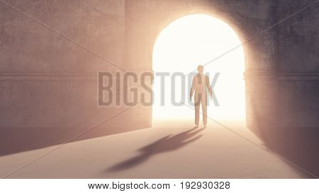 Silhouette of a man in a doorway. This is a 3d render illustration