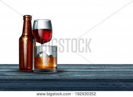 Alcohol on a white background as a bottle of beer wine and a glass of hard liquor as whiskey or scotch on a bar as a drinking or alcoholism concept as a 3D illustration.