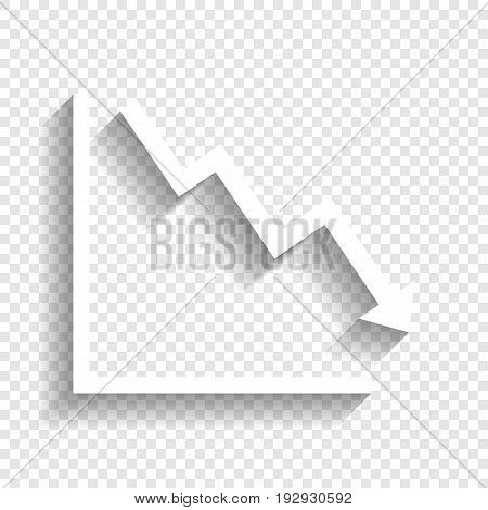 Arrow pointing downwards showing crisis. Vector. White icon with soft shadow on transparent background.