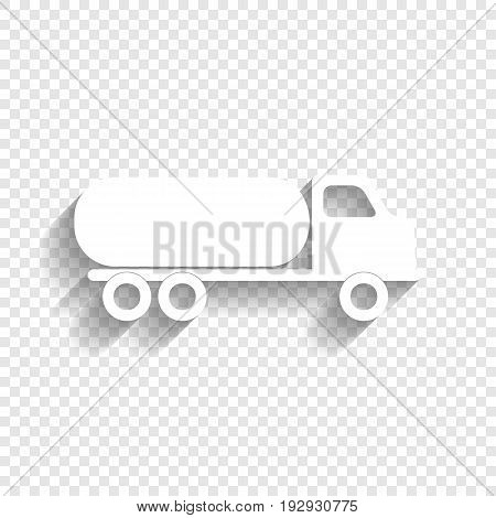 Car transports sign. Vector. White icon with soft shadow on transparent background.
