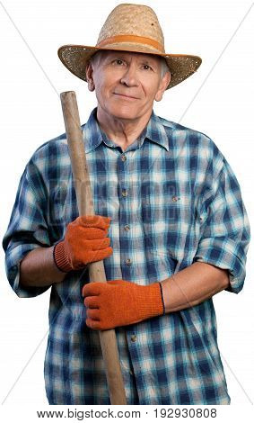 Man senior shovel straw hat senior man white background