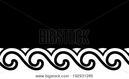seamless vector waves border isolated on black background