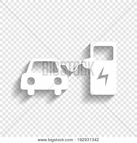 Electric car battery charging sign. Vector. White icon with soft shadow on transparent background.