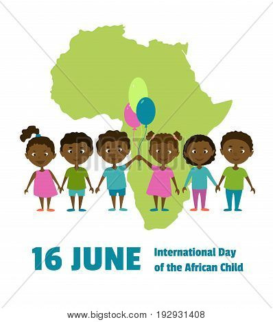 International Day of the African Child.16 June.African children on a background map of the African continent.Cartoon characters.