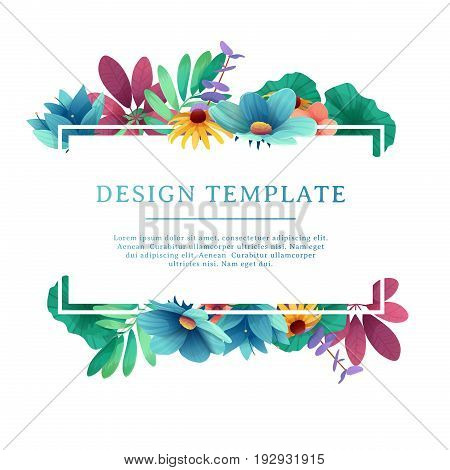 Banner design template with floral decoration. Rectangular frame with the decor of flowers, leaves, twigs. Individual invitation with space for text on the background natural summer bouquet. Vector