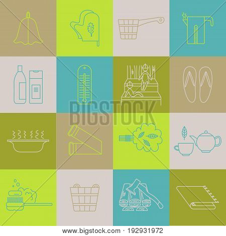 Set of vector icons line. Accessories for sauna.