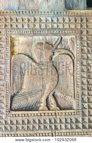 The Mythical Bird In Old Temple