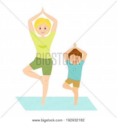 Mom and son doing yoga.Isolated on white background. Vector illustration.