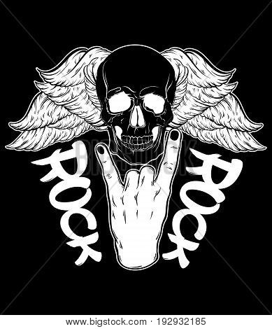Vector hand drawn illustration of rock hand with human skull with wings. Tattoo artwork. Template for card poster bunner print for t-shirt.