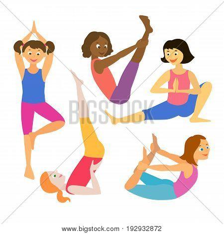 Kids yoga. Vector illustration. Asanas. Set of yoga poses. Cartoon characters.
