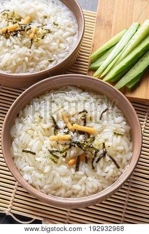 Two portions of japanese meal ochazuke or chazuke