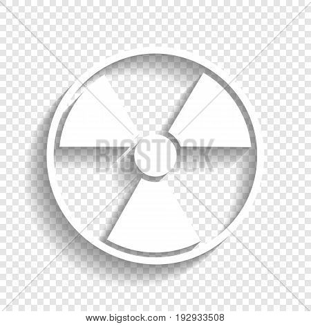 Radiation Round sign. Vector. White icon with soft shadow on transparent background.