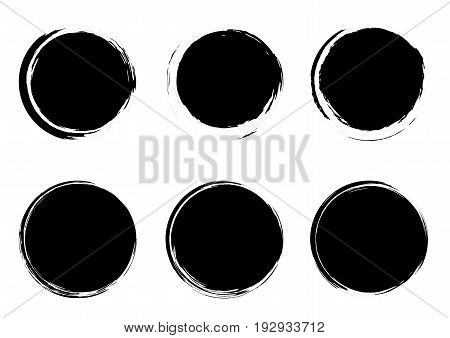 Modern grunge stamps badges circle form templates collection. Graphic black empty distressed dust frames. Vector illustration