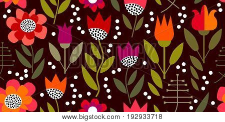 Seamless vector pattern inspired by 1950s textile design. Poppies and tulips on dark brown background.