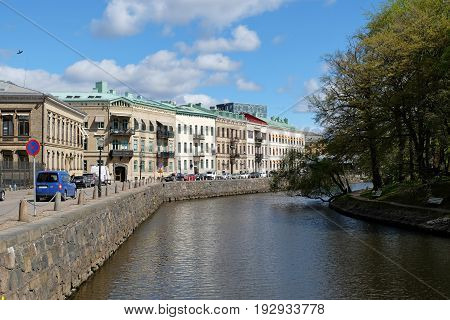 GOTHENBURG SWEDEN - MAY 2017: Canal embankment in Gothenburg Sweden.