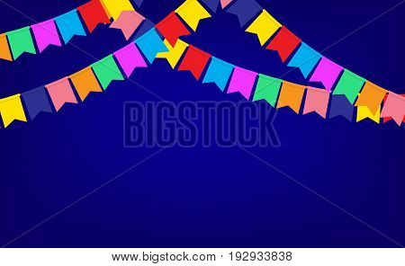 Blue banner with garland of color Party flags and space for your text
