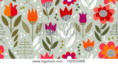 Seamless vector pattern inspired by 1950s textile design. Poppies and tulips on grey background.
