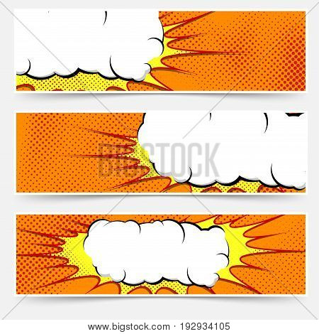 Bright pop art style orange dotted header collection with cloud. Halftone graphic grain orange strips and explosion speech white cloud frame. Vector illustration