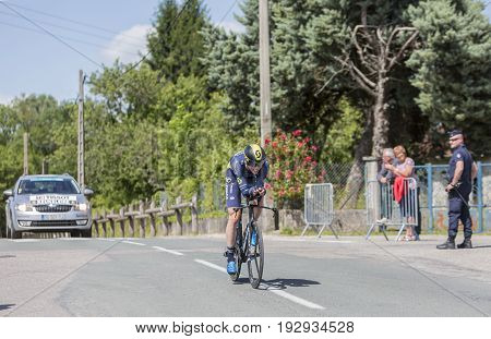 Bourgoin-Jallieu France - 07 June  2017: The Belgian cyclist Jens Keukeleire of Orica-Scott Team riding during the time trial stage 4 of Criterium du Dauphine 2017.