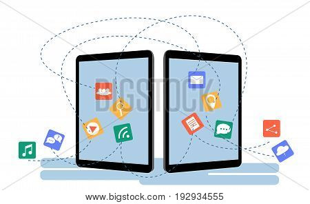 Data Transfer Concept Between Two Tablets. Communication between two devices.