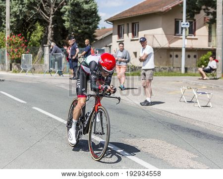 Bourgoin-Jallieu France - 07 June 2017: The South African cyclist Louis Meintjes of UAE Team Emirates riding during the time trial stage 4 of Criterium du Dauphine 2017.