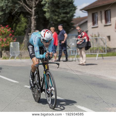 Bourgoin-Jallieu France - 07 June 2017: The Italian cyclist Fabio Aru of Astana Team riding during the time trial stage 4 of Criterium du Dauphine 2017.