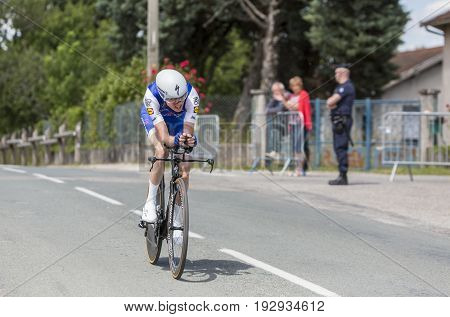 Bourgoin-Jallieu France - 07 June 2017: The Irish cyclist Dan Martin of Quick-Step Floors Team riding during the time trial stage 4 of Criterium du Dauphine 2017.