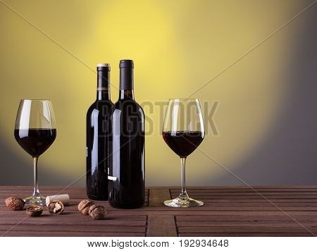 Italian red wine and nuts on table