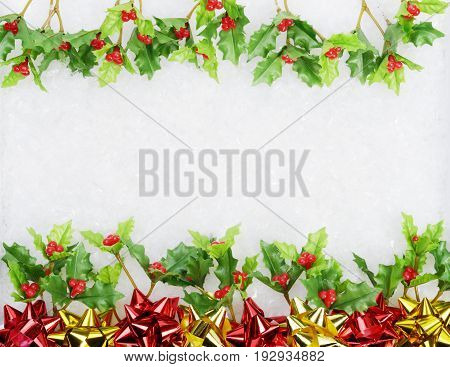 Christmas green framework with ribbons and berry