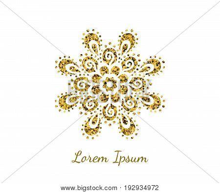Elegant retro flourish decor. Vintage logo design with gold glitter texture. Logotype ornament for boutique; restaurant; cafe; flower shop emblem. EPS 10 vector illustration.