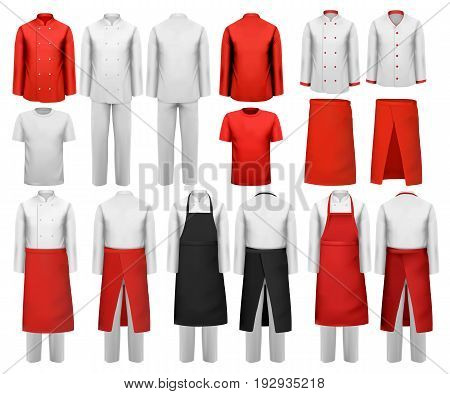 Big set of culinary clothing white and red suits and aprons. Vector.