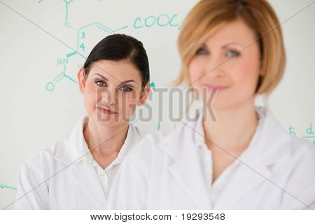Two attractive scientist women in front of a whiteboard
