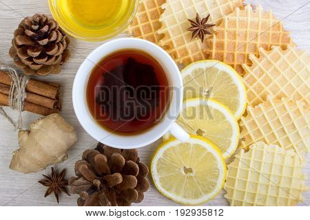 Cup Of Tea With Honey, Pinecone, Badian, Ginger, Waffles And Cinnamon