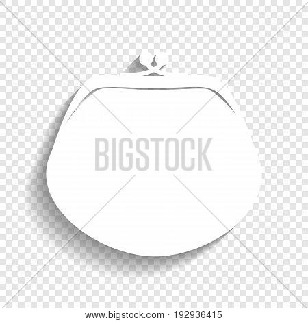 Purse sign illustration. Vector. White icon with soft shadow on transparent background.