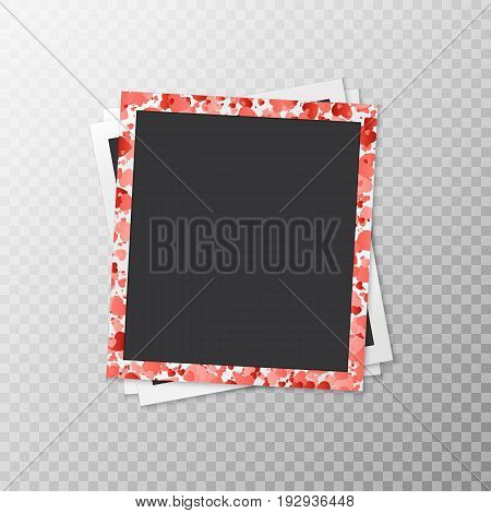 Three photo frames in a romantic style with hearts of confetti on a translucent background