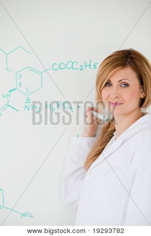 Female scientist looking at the camera while writing a formula