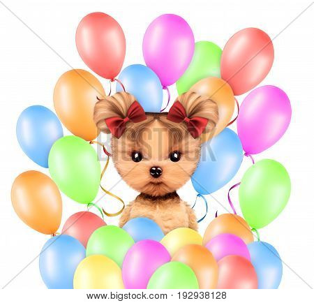 Funny animal surrounded by balloons on white background. Birthday and party concept. Realistic 3D illustration
