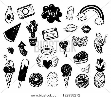 Vector hand drawn summer fashion doodles: ice cream cactus watermelon camera rainbow cat cloud lip heart. Modern set of pop art stickers patches pins badges in 80s-90s style