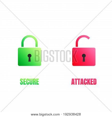 Cyber security lock icons. Computer security signs for secure and cyber attacked data