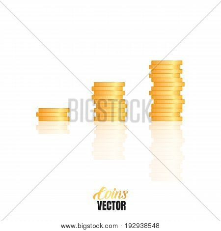 Gold coins stacks. Vector realistic coins isolated on white with smooth reflection