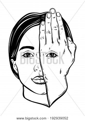 Vector hand drawn illustration of woman face with eye on her hand. Surreal artwork. Template for card poster banner print for t-shirt.