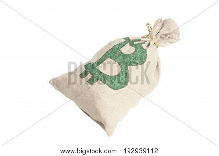 Money Bag With Bitcoin Symbol Isolated On White