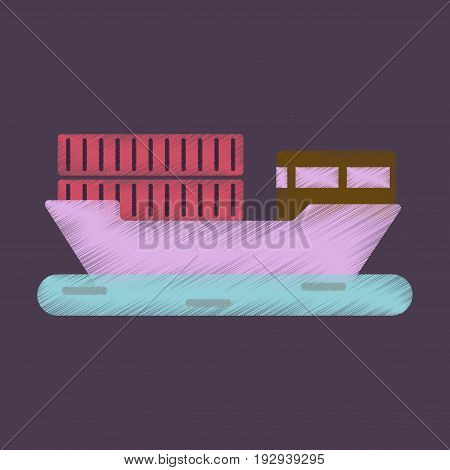 Flat Icon in Shading Style Ship with containers