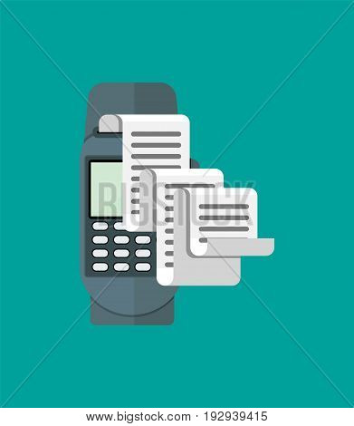 Pos terminal, paper receipt and keypad. Cashless payment. Vector illustration in flat style