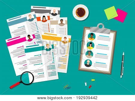 Human resources management concept, searching professional staff, work, hq, hard choice between people, resume on desk, pen, coffee cup. Vector illustration in flat style