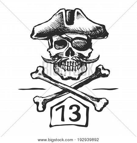 skull pirate mustache hat triangular. Cross bones. Vector sketch illustration.