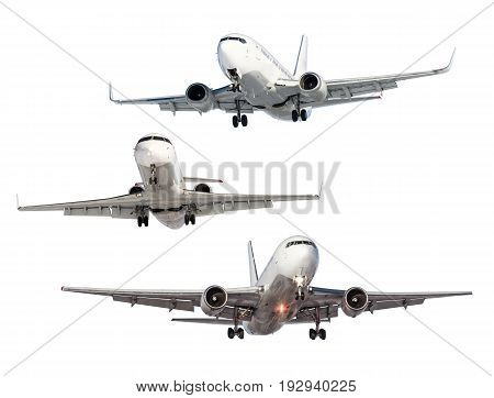Set of three aircraft isolated from the background